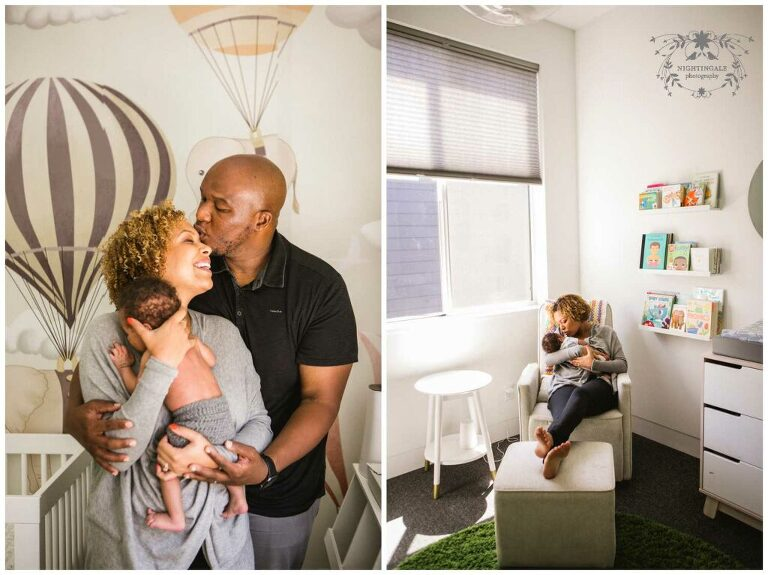Adorable natural at home newborn pictures with family in their downtown Oakland home  by Nightingale Photography.