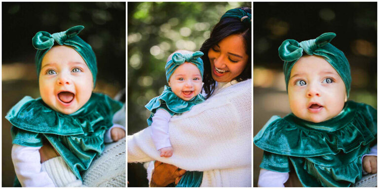 baby portraits and family photos in the redwoods in oakland